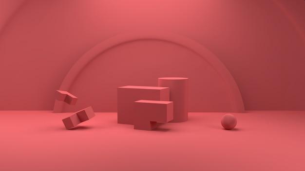 Renderização 3d redonda e quadrada em cor pastel pódio