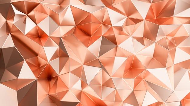 Renderização 3d. resumo triangular de cobre.