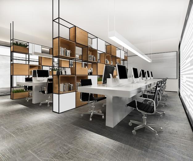Renderização 3d, reunião de negócios e sala de trabalho em prédio de escritórios