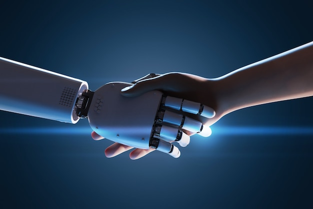 Renderização 3d robô com aperto de mão com humanos