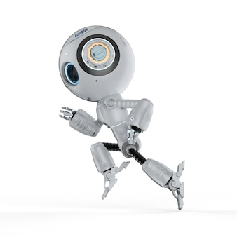 Renderização 3d robô fofo de inteligência artificial executado em fundo branco