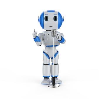 Renderização 3d robótica orador público falando com microfone