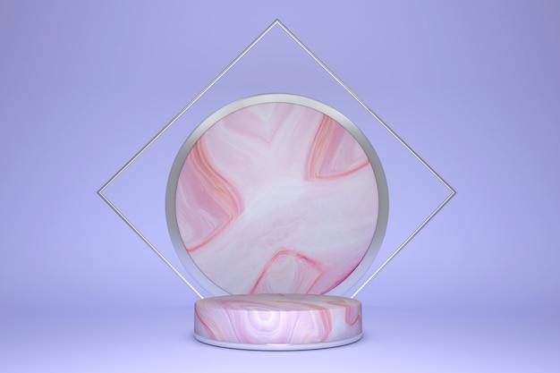 Renderização 3d rosa e violeta com textura de pódio e mármore, fundo mínimo de produto de pódio.