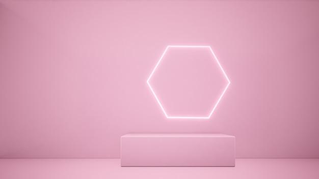 Renderização 3d rosa pódio e linha de iluminação fundo rosa conceito minimalista