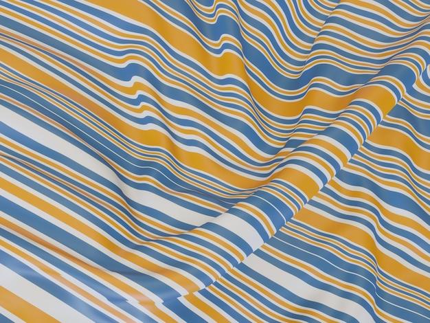 Renderização 3d. roupas onduladas. fundo listrado ondulado