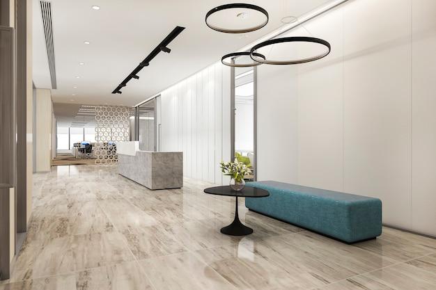 Renderização 3d, salão de recepção de hotel de luxo e escritório com balcão moderno mínimo