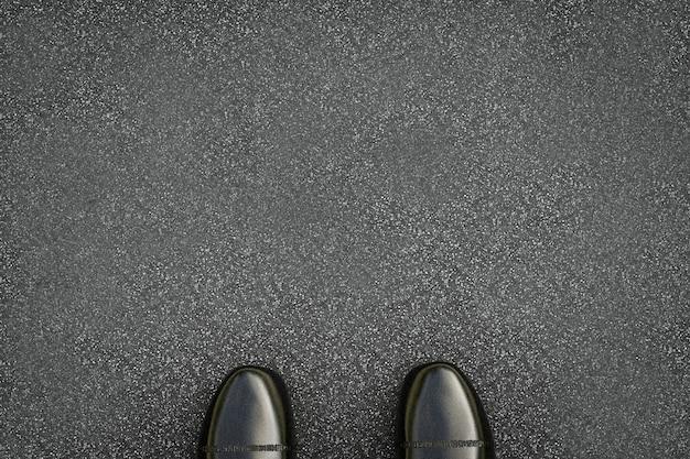 Renderização 3d sapatos de couro preto em estrada de asfalto