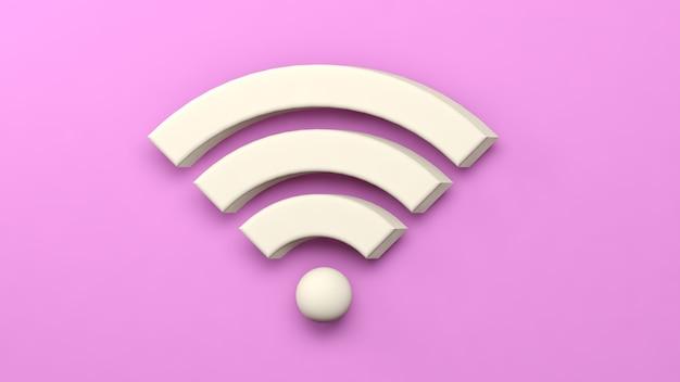 Renderização 3d. símbolo de rede sem fio wifi em fundo rosa isolado. conceito de rede e internet.