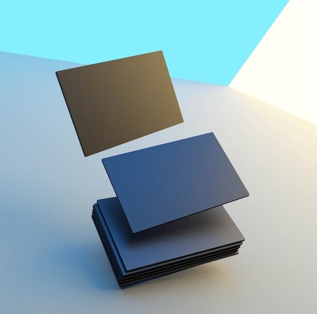 Renderização 3d simulada para cartão de negócios. fundo colorido