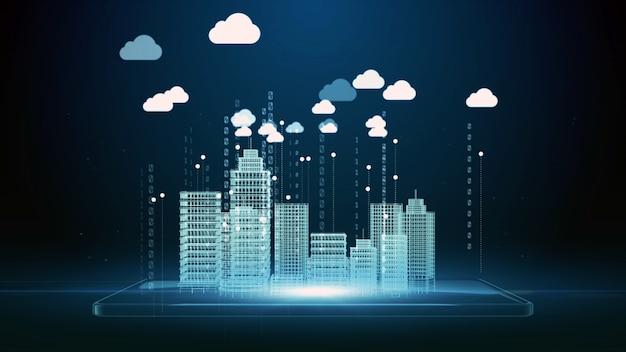 Renderização 3d, smartphone digital e wireframe de cidade inteligente e ícone de nuvem, conceito de fundo de conexão de rede de dados digital de computação em nuvem e tecnologia