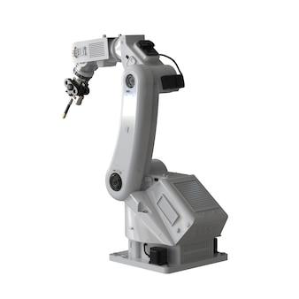 Renderização 3d soldagem braço robótico isolado no fundo branco