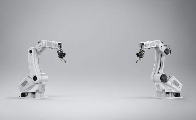 Renderização 3d soldando braços robóticos com espaço em branco no fundo branco