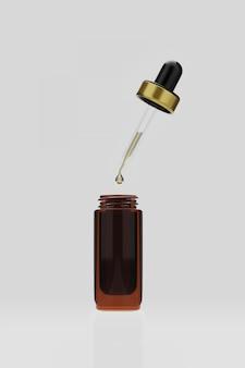 Renderização 3d soro de óleos essenciais com água cai para a garrafa em branco