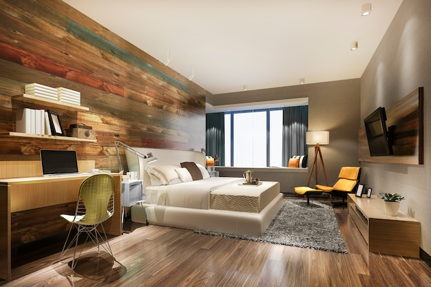Renderização 3d suíte de quarto de luxo bonito no hotel com tv e mesa de trabalho
