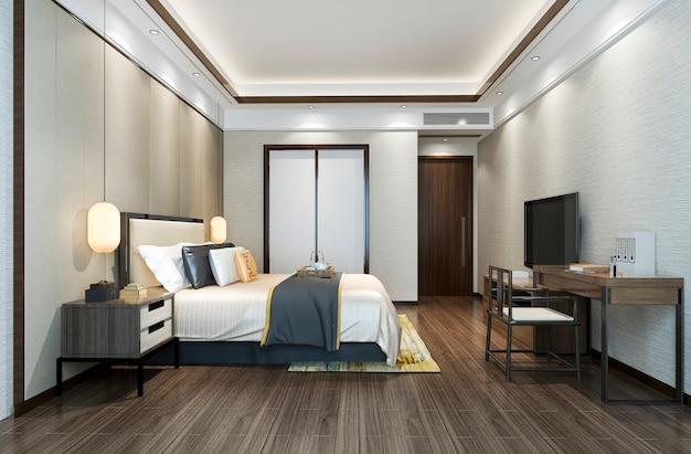 Renderização 3d, suíte de quarto de luxo clássico bonito no hotel com tv e mesa de trabalho perto do banheiro