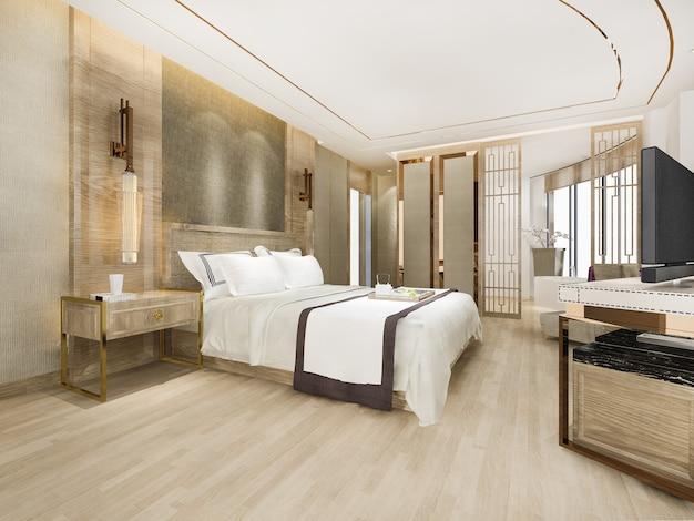 Renderização 3d, suíte e banheiro de luxo moderno no hotel