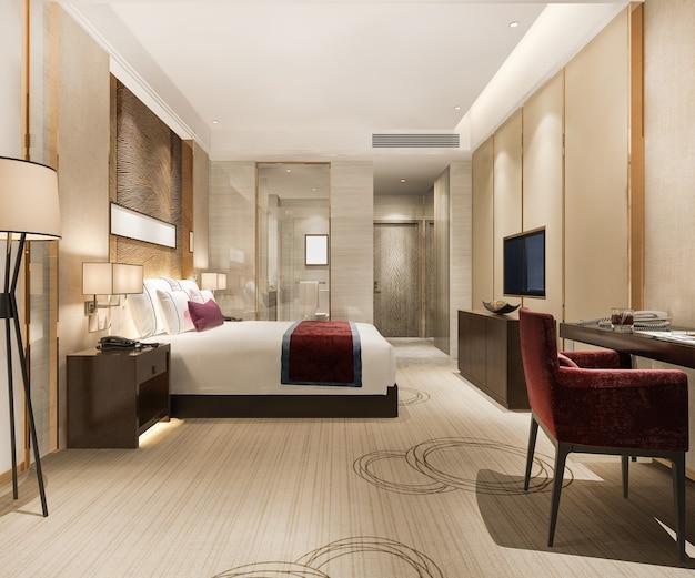 Renderização 3d, suíte e banheiro de luxo moderno