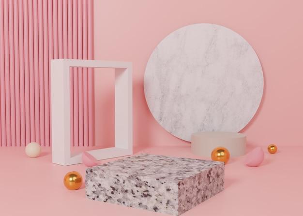 Renderização 3d suporte de produtos do pódio de exibição em pastel rosa no fundo. geometria mínima abstrata. imagem premium