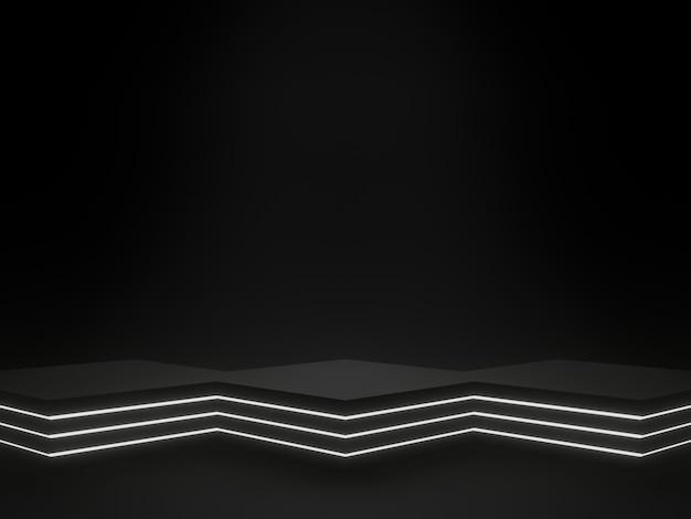 Renderização 3d suporte geométrico preto para produtos sci fi com luz de néon branca