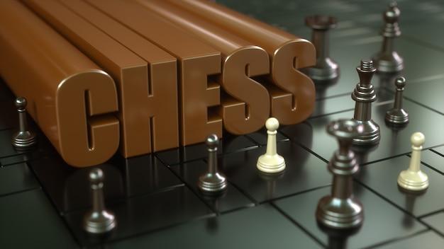 Renderização 3d. tabuleiro de xadrez e peças