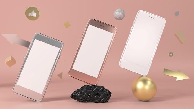 Renderização 3d telefones celulares formas geométricas 3d