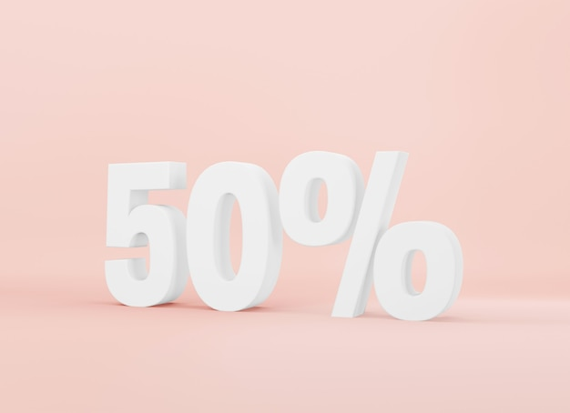 Renderização 3d texto branco cinquenta por cento de desconto em fundo rosa bebê