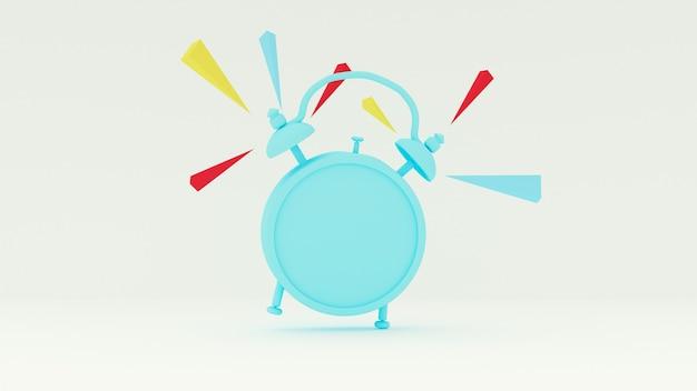 Renderização 3d. tocando despertador azul em uma parede branca.