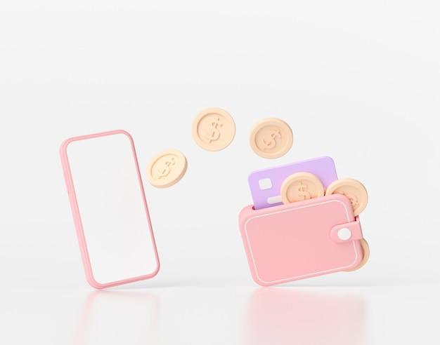Renderização 3d transferência de dinheiro móvel online, pagamento online seguro e conceito de banco móvel.