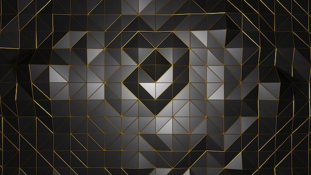 Renderização 3d triângulo forma geométrica cor preta fundo abstrato