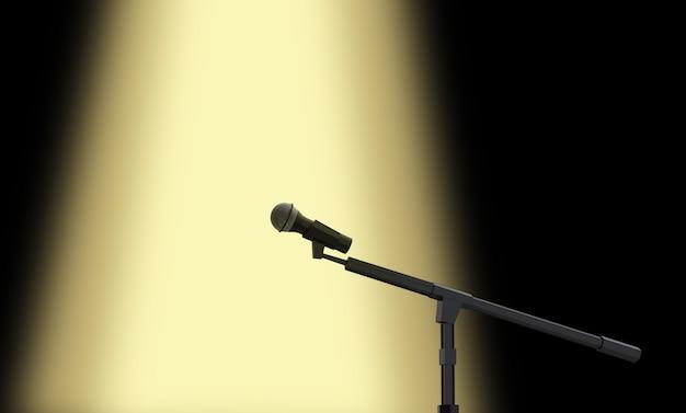 Renderização 3d. um microfone de desempenho com luz de palco amarela