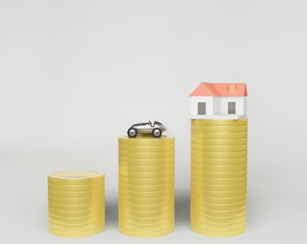 Renderização 3d, uma linha de moedas e um modelo de pequena casa