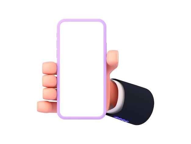 Renderização 3d, uma mão de desenho animado com uma manga mostra o telefone na orientação retrato