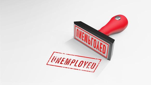 Renderização 3d unemployed rubber stamp 3d