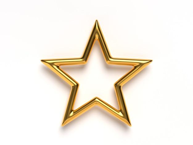 Renderização 3d única estrela dourada