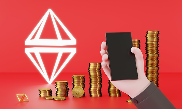 Renderização 3d usa o smartphone para negociar moeda digital ethereum moeda digital criptomoeda