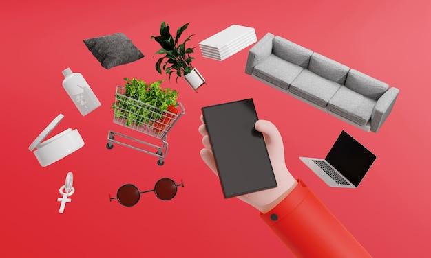 Renderização 3d usa o smartphone para solicitar produtos em lojas online. mart technology trendy gadget