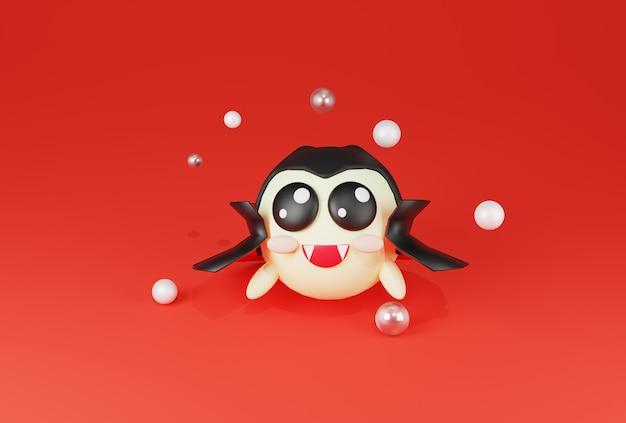 Renderização 3d vampiro bonito feliz sobre fundo vermelho