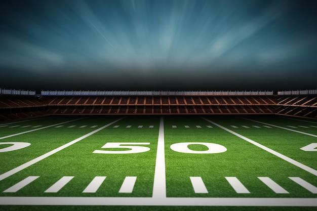 Renderização 3d vazio estádio de futebol americano à noite