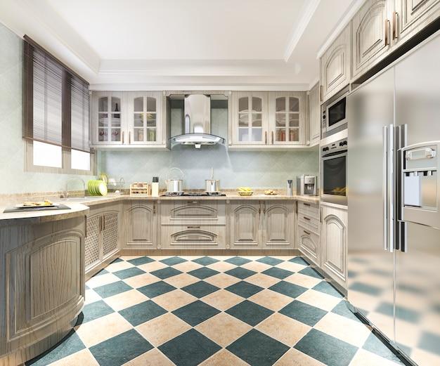 Renderização 3d vintage cozinha moderna com área de jantar