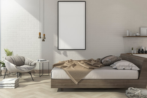 Renderização 3d vintage mínimo mock up quarto em estilo escandinavo