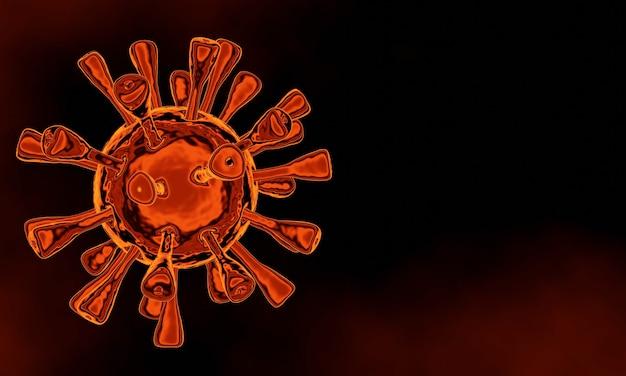 Renderização 3d. vírus covid-19 microscópico vermelho. pandemia de crise mundial.