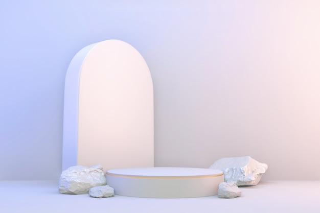 Renderização 3d. visor moderno e minimalista em branco e ouro com pódio abstrato.