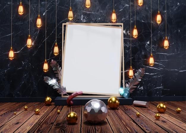 Renderização 3d, vista frontal de pendurar lâmpadas iluminadas