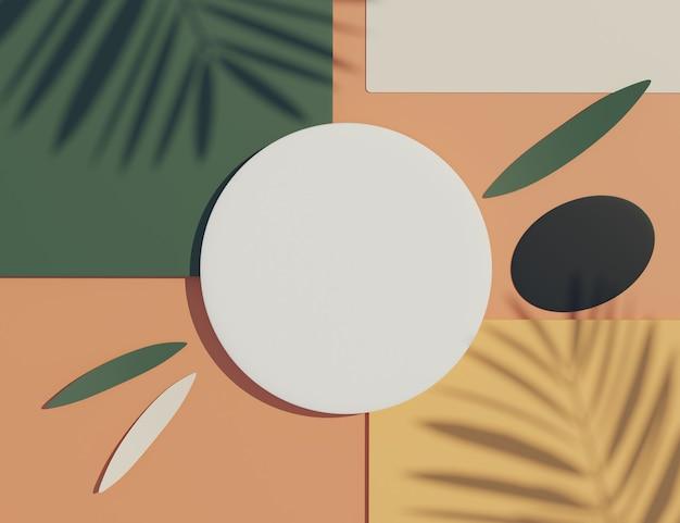 Renderização 3d vista superior da moldura do cilindro branco em branco para simulação e exibição de produtos com sombras de folhas de palmeira