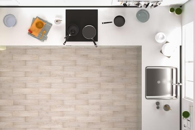 Renderização 3d vista superior do interior da cozinha com piso de madeira
