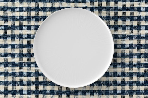 Renderização 3d vista superior do prato branco
