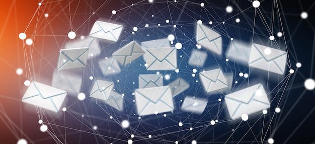 Renderização 3d voando ícone de e-mail e web voando