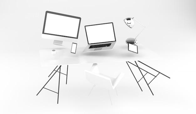Renderização 3d voando no local de trabalho com o telefone do laptop e tablet