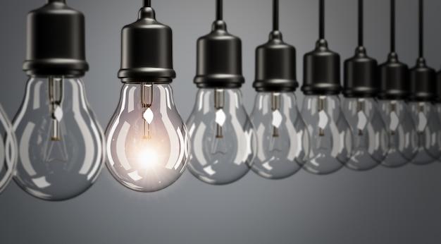 Renderização 3dclose up lâmpada suspensa brilhanteideia conceitual em tom de cor escura