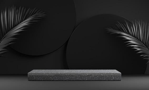 Renderização abstrata de exibição de palco em preto escuro